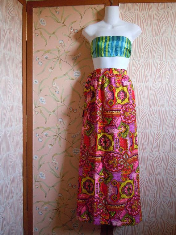 Vintage Vogue Skirt Full Length Skirt Hot Pink by RecycledWares
