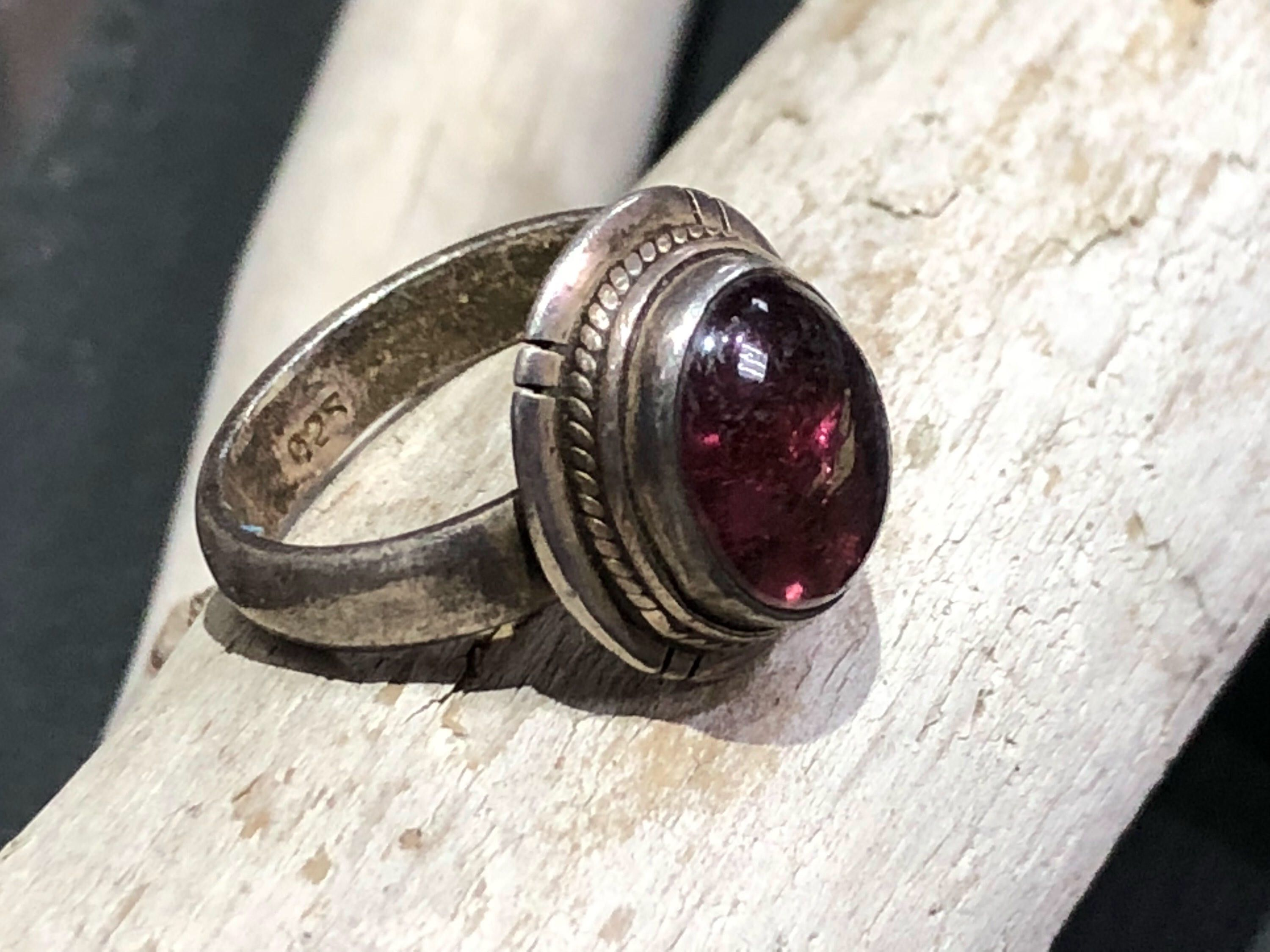 Vintage Purple Stone Sterling Silver Band Statement Ring