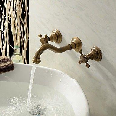 Wand Montiert Zwei Griffe Drei Locher Im Antiken Messing Waschbecken Wasserhahn De1654 99 00 Waschbecken Waschtischarmatur Spulbecken Wasserhahn