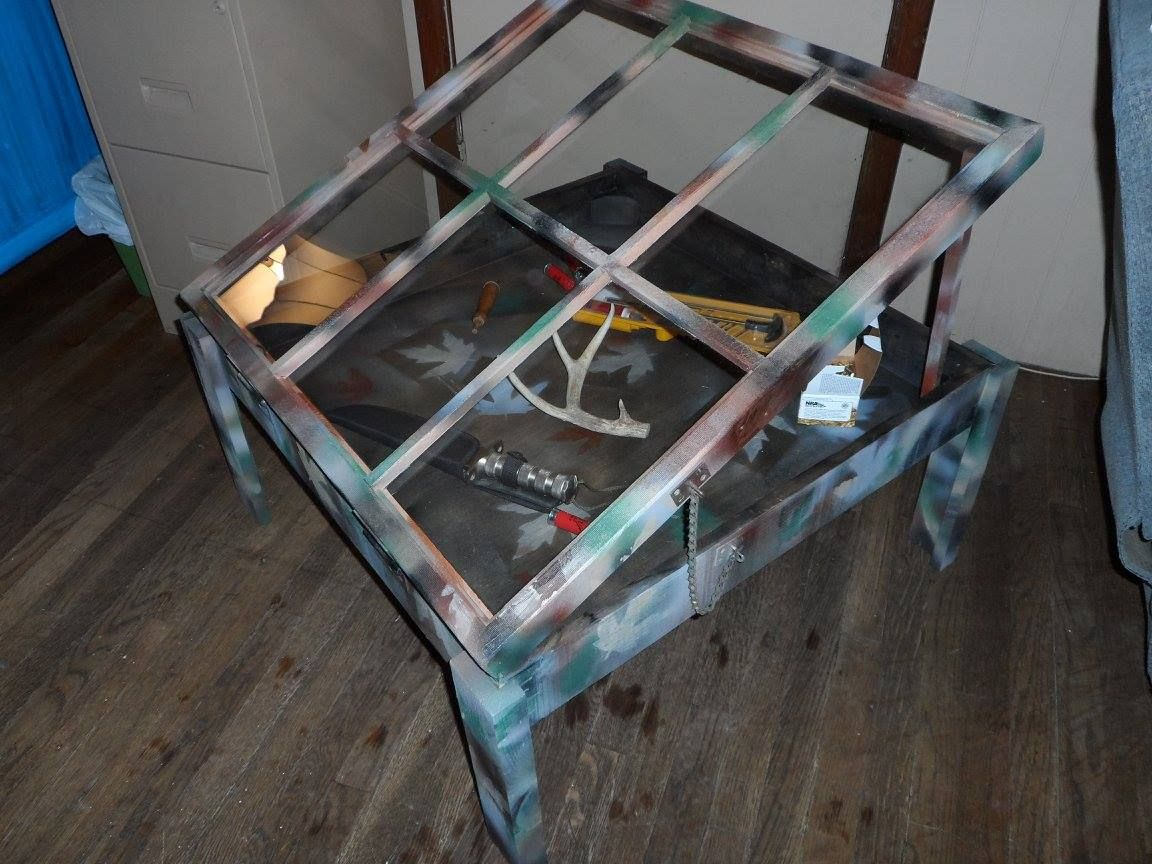 coffee table with shadow box made from repurposed cedar