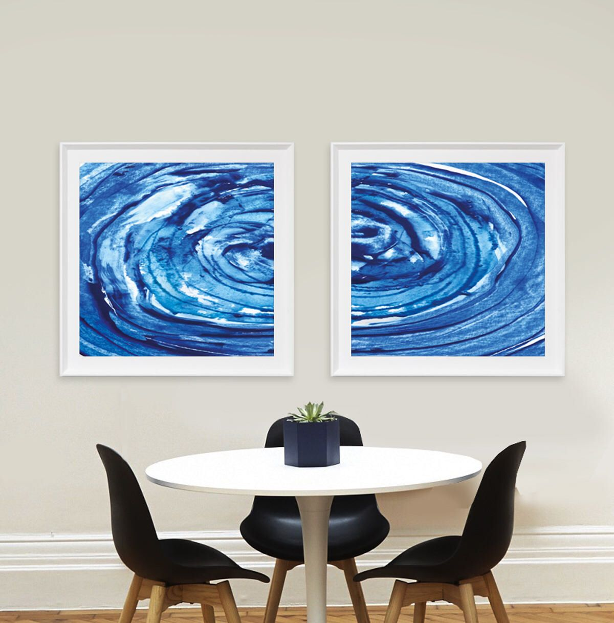 Set of 2 prints printable abstract scandinavian modern brush prints navy blue · abstract wall artpainting