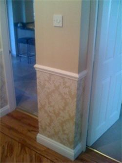 Wallpaper under dado rail staircases pinterest dado rail wallpaper and living rooms for Decorating ideas for living room with dado rail