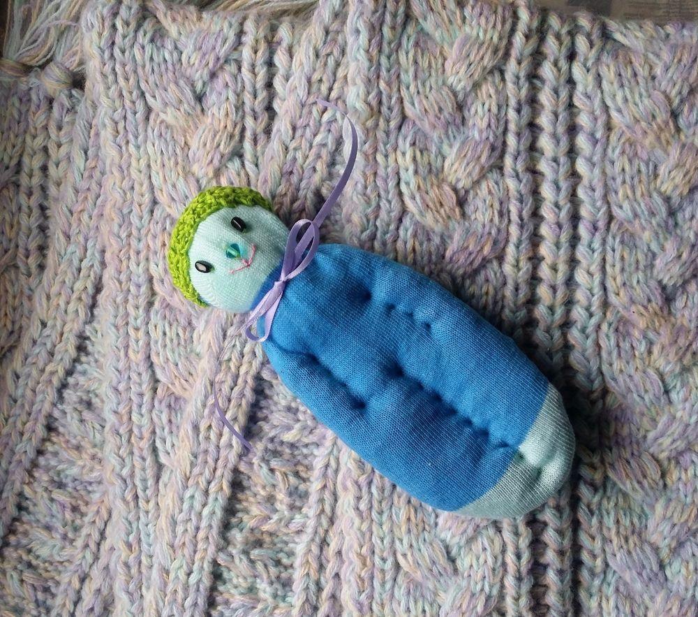 Lavender Filled Sachet Handmade Sock Doll OOAK Blue w\Black Eyes Blue Gem Nose #Pedricks