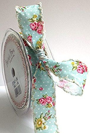 Bertie's Bows Blue Floral Flower Polka Dot Ribbon Ivory Lace Edge 25mm (NB this is cut on the roll)