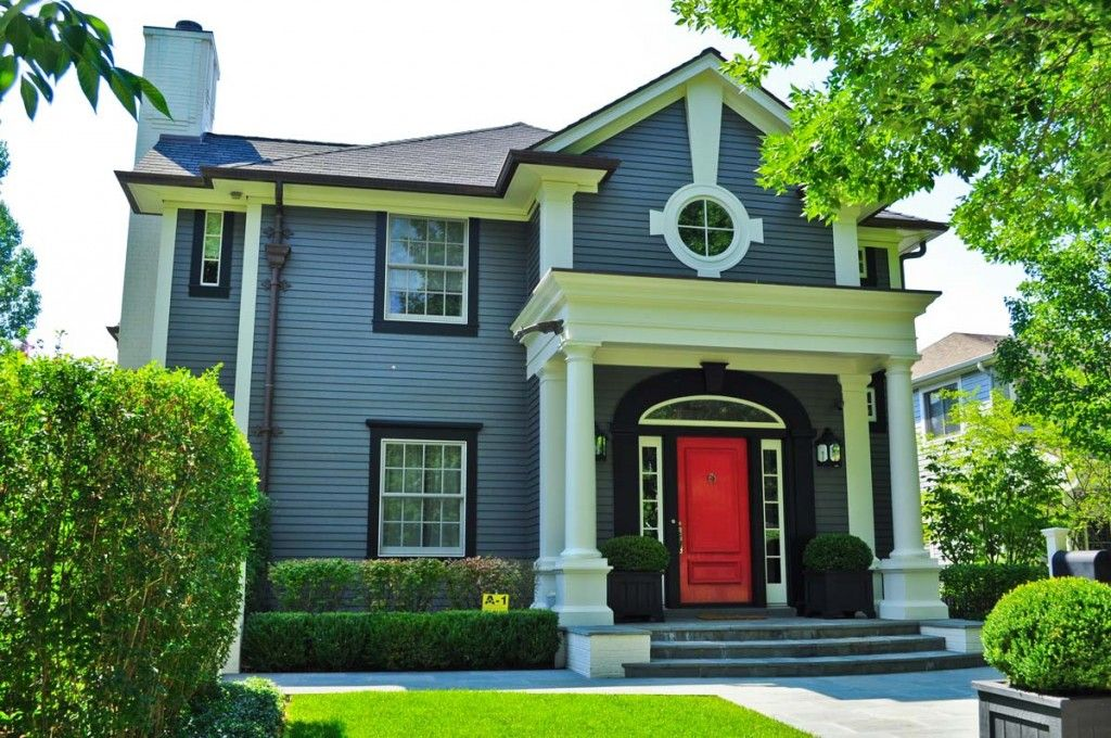 Red Door Grey House dark grey house with red door ideas and images | http