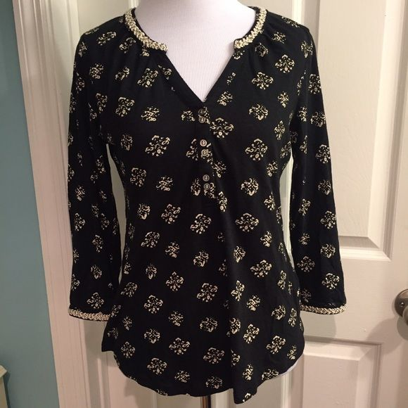 Lucky Brand black and cream 3/4 sleeve top Slub t-shirt material. 3/4 length sleeves with buttons at the cuff. Gold and cream trim at collar and cuffs. Lucky Brand Tops Blouses