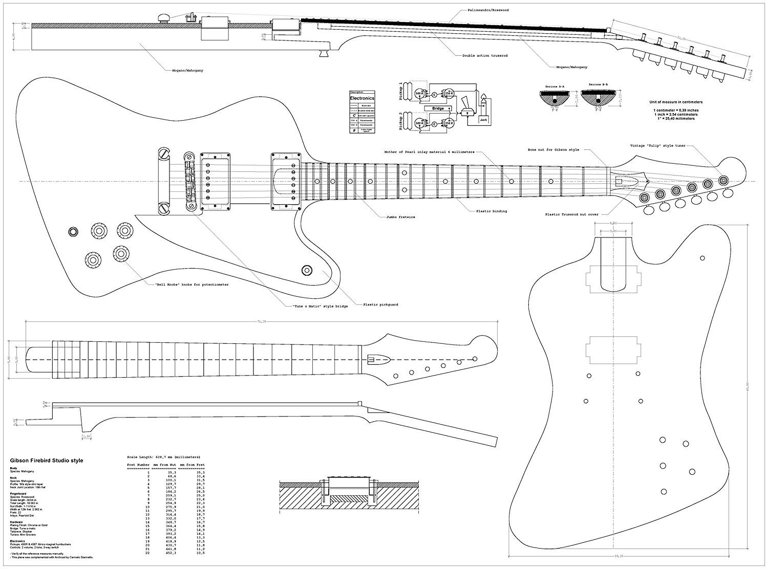 Set Of 4 Electric Guitar Plans Gibson Les Paul Gibson Les Paul