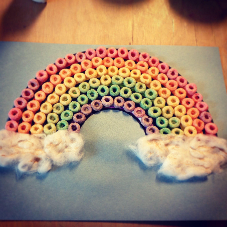 FruitloopsGlueCotton BallsSpray Glitter Rainbow Template Cute