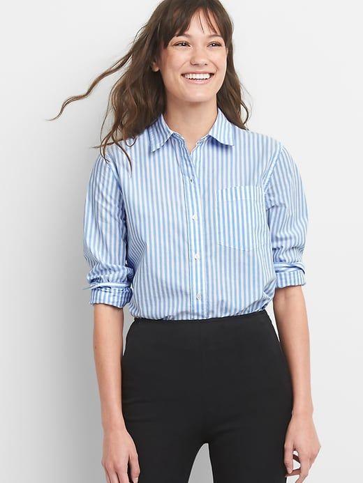 47833976 Gap Womens Boyfriend Stripe Shirt In Poplin Blue Stripe | Products ...