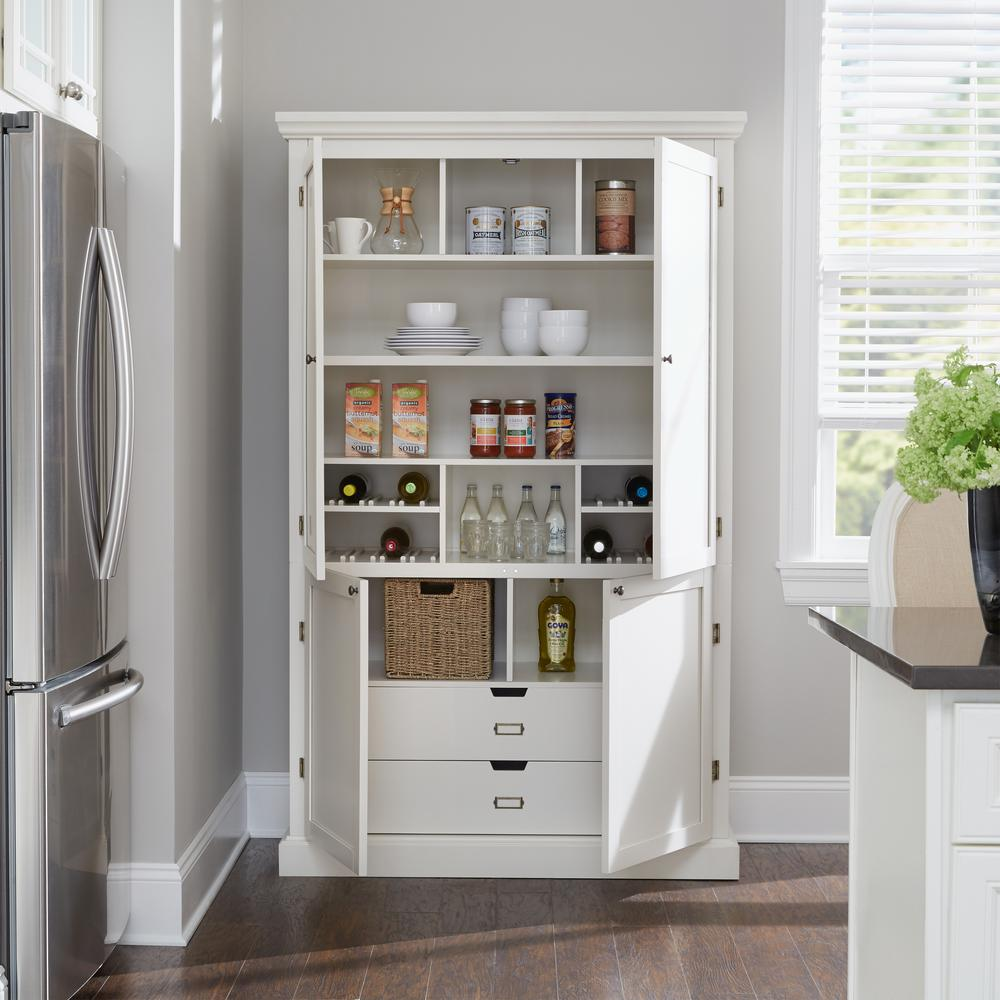 Home Decorators Collection Prescott Polar White Modular Open Top With Wine Rack 9950610410 The Home D In 2020 White Pantry Built In Pantry Home Decorators Collection