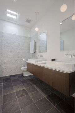Bathroom Gray Floor Marble Wall Design Ideas Pictures Remodel