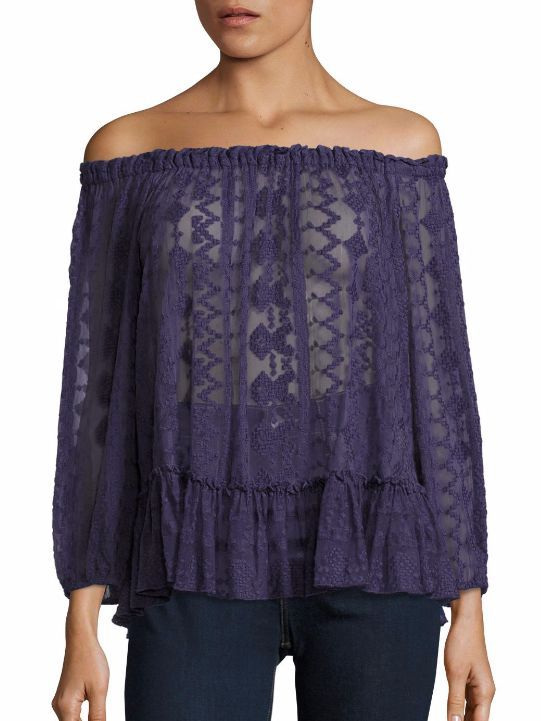 Rebecca Taylor Off-The-Shoulder Silk Blend Lace Top