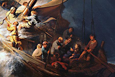 """Amós Boiadeiro: Tempestade no Mar da GalileiaAlheio ao impacto que o perigo da cena que envolveu Jesus e seus discípulos causa em nós mortais, que, obedientes à instrução """"Sossegai"""" do hino, a traduzimos por confiança e paz, Rembrandt conseguiu captar um momento singular e absolutamente oposto. Ele optou por retratar, e o fez com genialíssima felicidade, os longos dez segundos que precederam à ordem de Jesus que transformou a tempestade em bonança."""