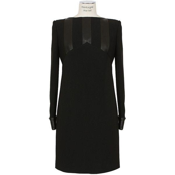 Saint Laurent Paris black crepe and leather dress ($2,480) ❤ liked on Polyvore