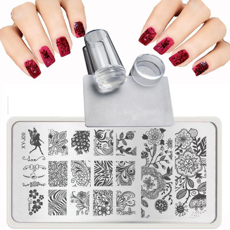 XY-J 2017 Lace Flowers Patterns for Nail Art Templates Steel plate ...