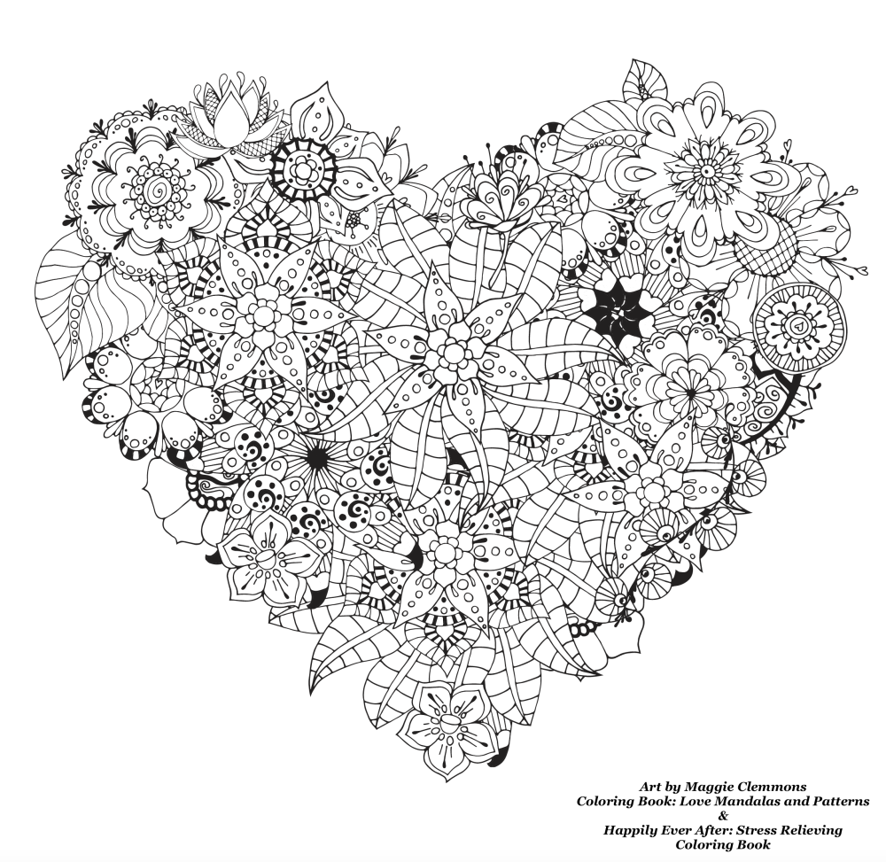 Free Coloring Pages From Adult Coloring Worldwide Art By Maggie Clemmons  Coloring Book: Love Mandalas
