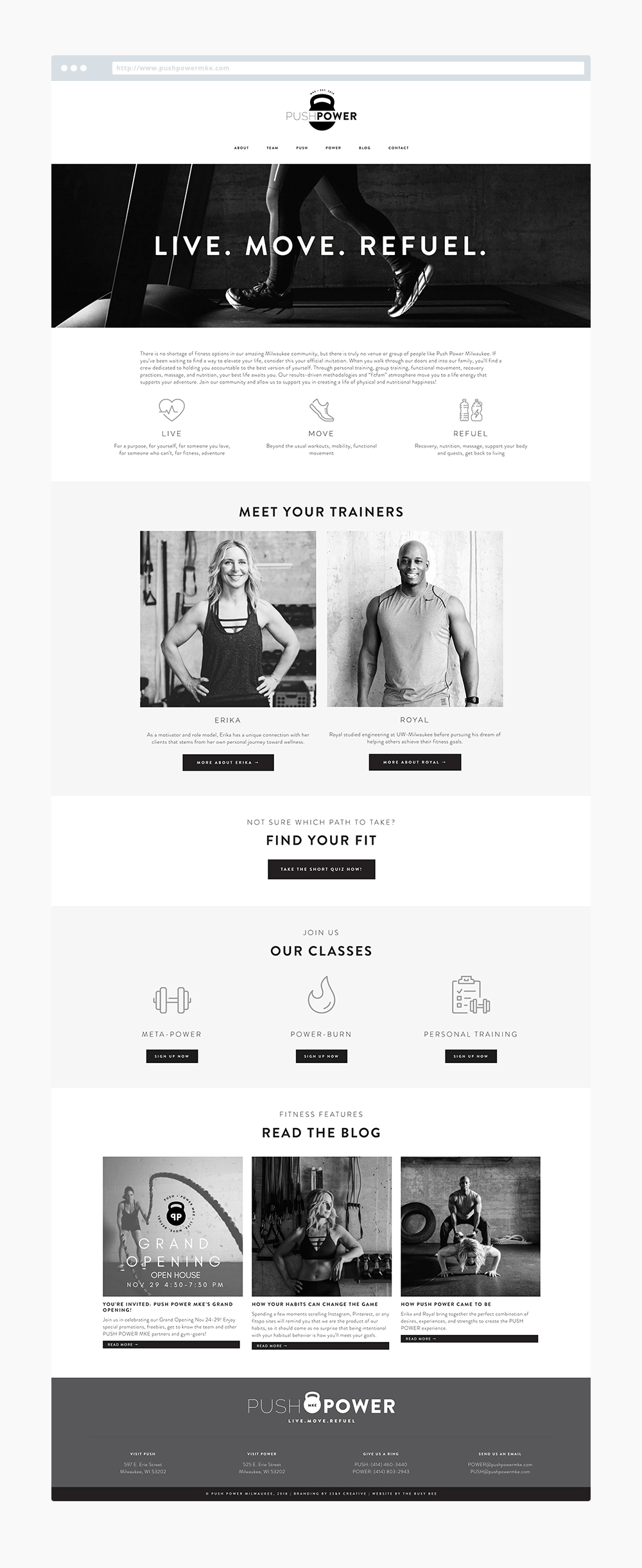 The Busy Bee Portfolio Custom Squarespace Website Push Power MKE - Custom Squarespace Website - Personal Trainer Website - Workout Website
