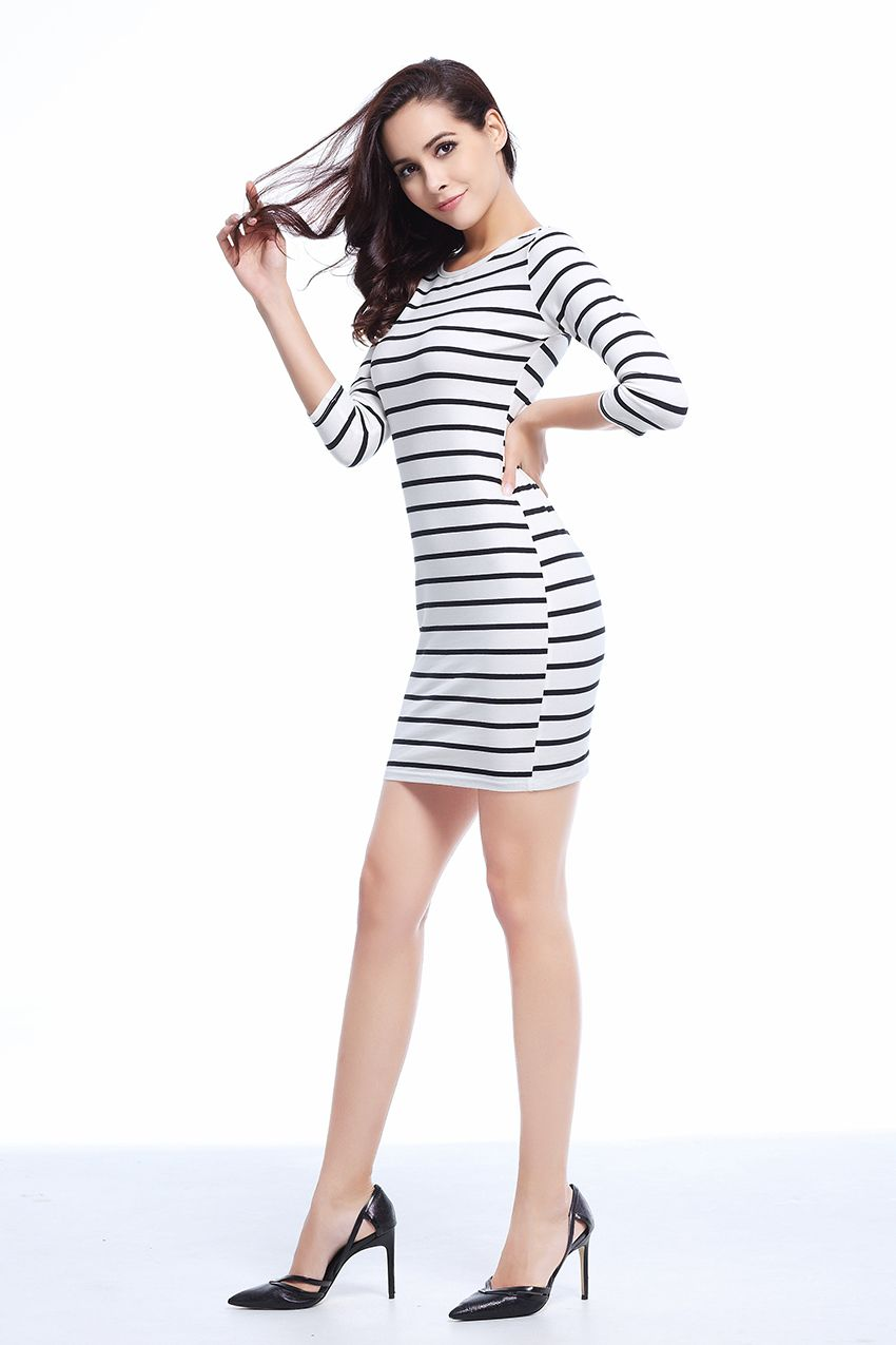 60b1f3de2f Dresses Women Round Neck Fashion Black and White Striped Long Sleeve  Straight Plus Size