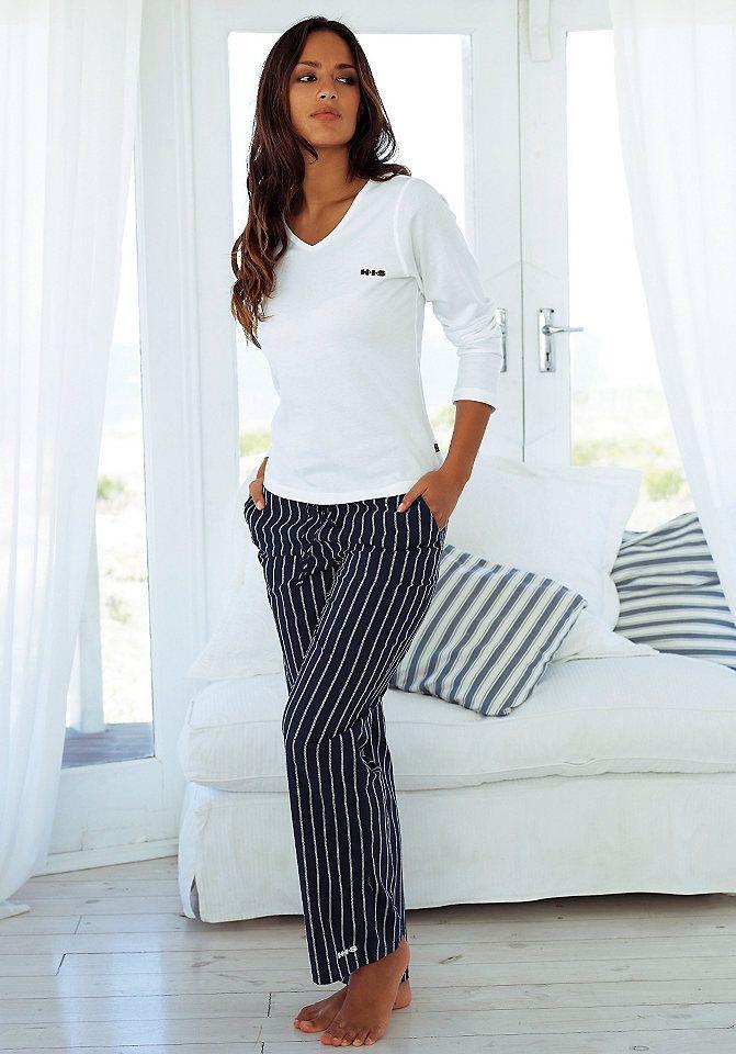 H.I.S Pyjama im Nadelstreifendesign mit schlichtem Shirt in weiß-marine