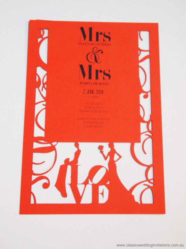 Mrs & Mrs Lady Invitation   Melbourne Laser Cutter   http ...