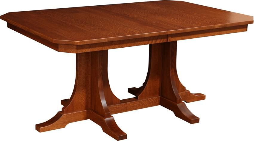 Amish Copper Canyon Mission Double Pedestal Dining Room Table