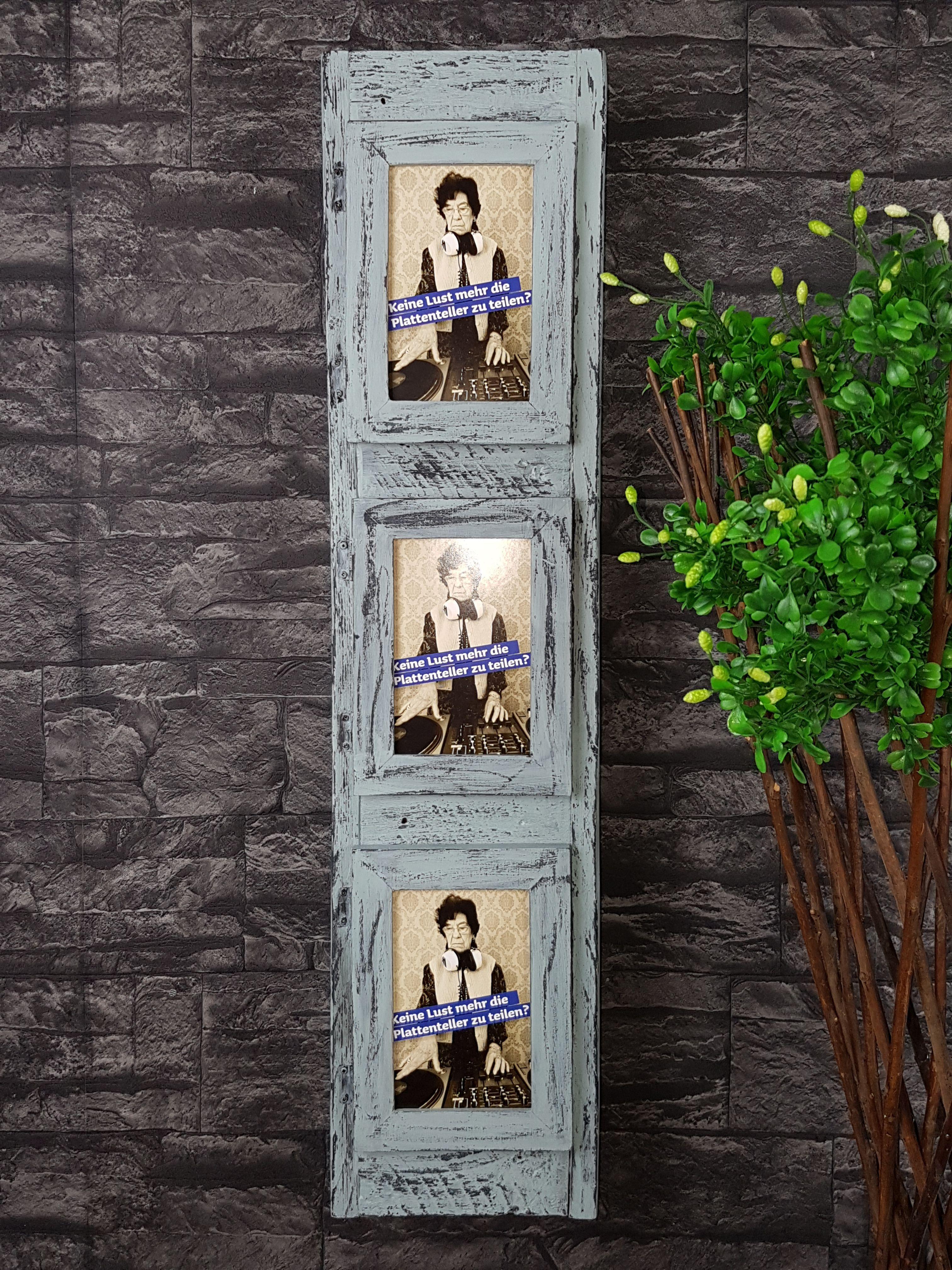 Shabby Chic Regal. Hinter den 3 Bilderrahmen sind 3 Ablagefächer ...