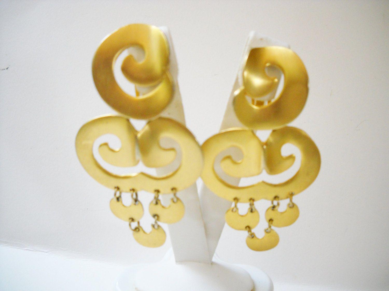 Earrings Clara Studio Dangle Drop Brushed Gold Tone Metal Clip On Designer Signed Vintage Big Bold Tribal Modernist Modern by FindCharlotte on Etsy