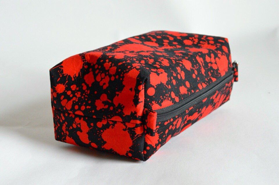 A personal favorite from my Etsy shop https://www.etsy.com/ca/listing/257228381/handmade-blood-splatter-toiletry-bag
