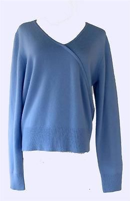 Lord Taylor 100 2 Ply Cashmere Womens Sweater Xl Faux Wrap Baby Blue