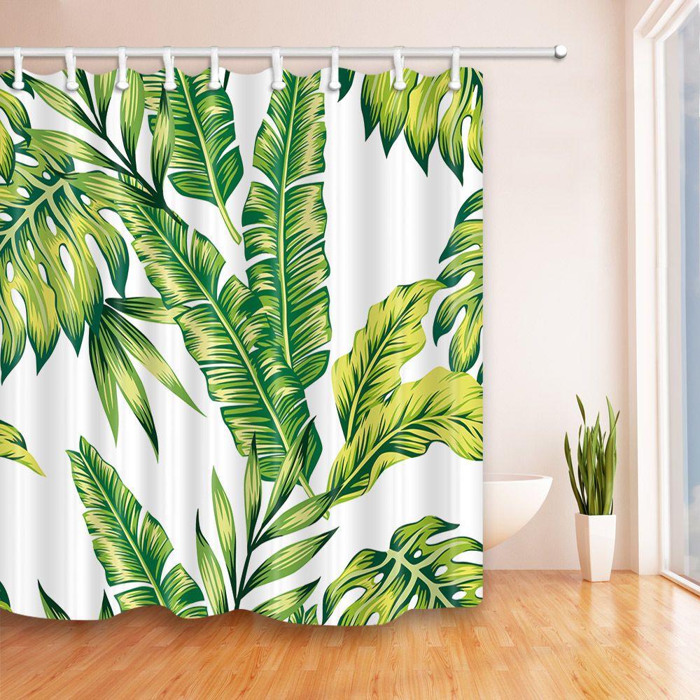 72x72 Banana Leaf Shower Curtain Tropical Jungle Martinique Green