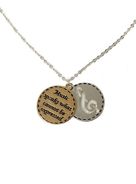 LOVEsick Music Note 2-Disc Charm Necklace - Hot Topic