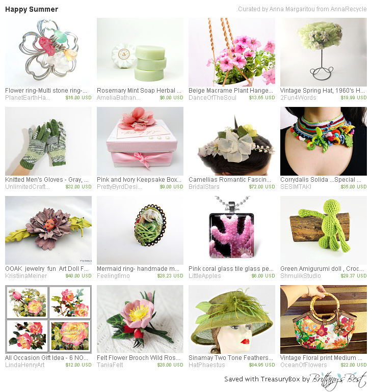 Happy Summer, a treasury from AnnaRecycle, includes one of our vintage hats!  https://www.etsy.com/treasury/NDMwODE1NTd8MjcyNzU0NjA5Ng/happy-summer