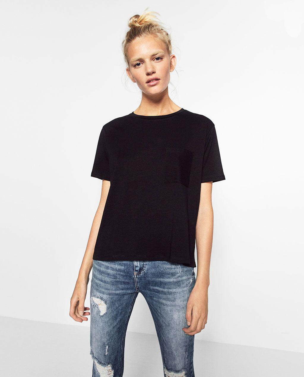 zara t shirt noir femme