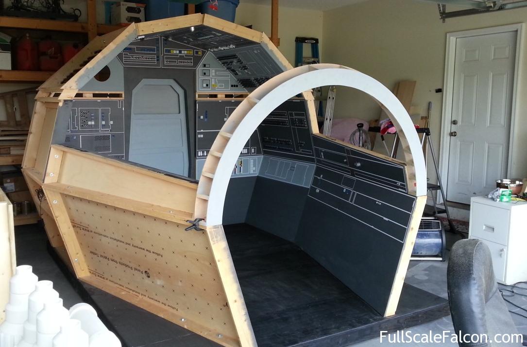 The near-finished cockpit of the replica Millennium Falcon ...