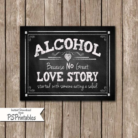 Funny Kitchen Art Funny Wedding Sign Instant Download Tea: Printable Alcohol Because No Great Love Story Started With