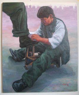 Titulo: El Lustrador. 1.20 x 1.00 m. Óleo sobre lienzo.