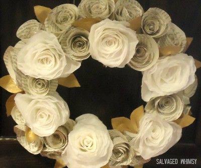 Swiateczne Ozdoby Z Papieru I Gazet 8 Rolled Paper Wreath Paper Wreath Tutorial Paper Flower Wreaths