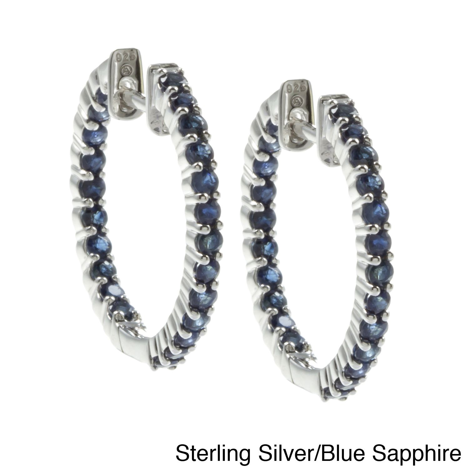 Beverly Hills Charm Sterling Silver and Genuine Gemstones Inside-out Hoop Earrings (