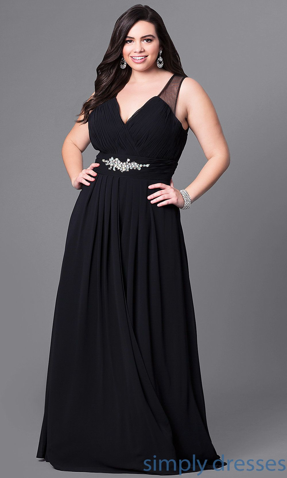 Long Plus-Size Prom Dress with Beaded Empire Waist in 2019 | dress ...
