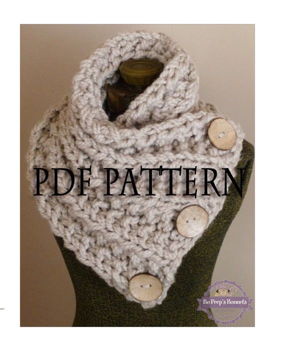 Knitting Pattern THE LANCASTER SCARF Chunky Button Neckwarmer ...