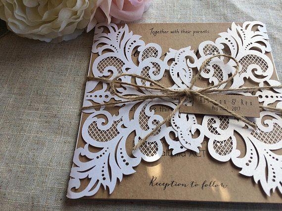 Rustic Wedding Invitation Laser Cut Design Rustic Lace Invite