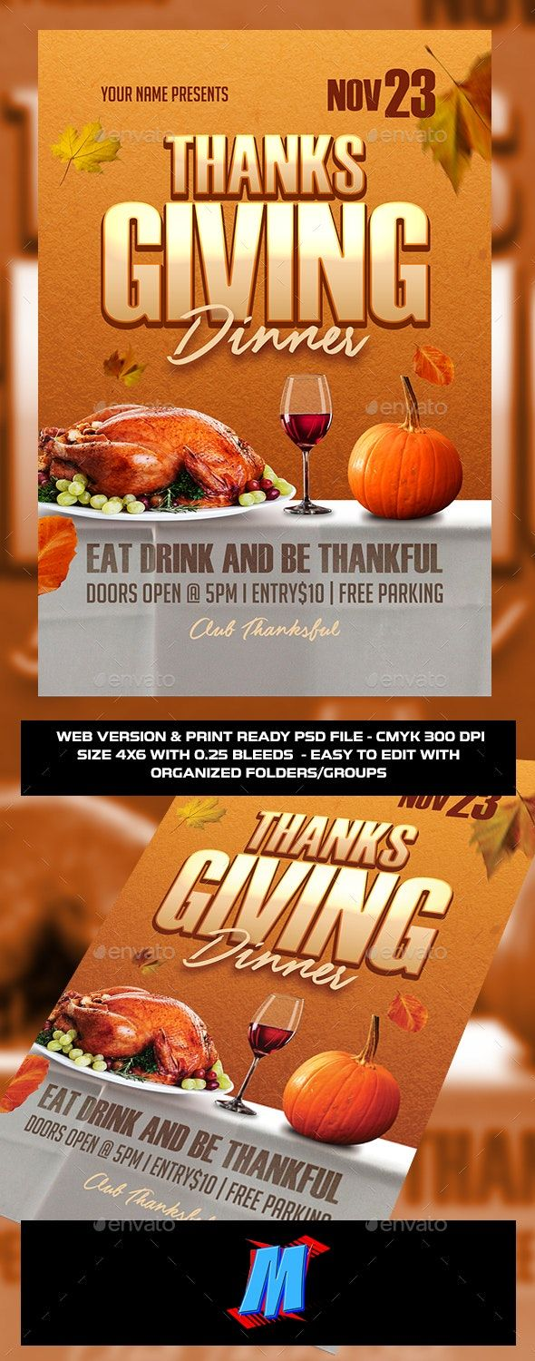 Thanksgiving Flyer Template in 2020 Flyer template