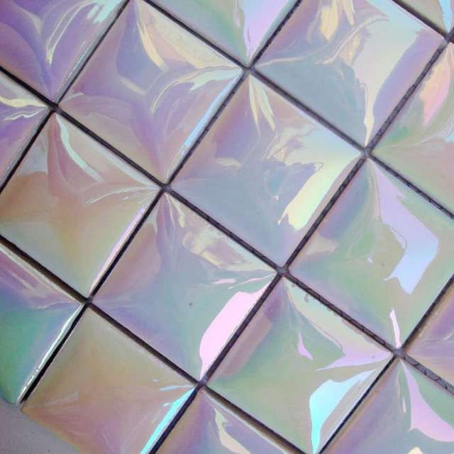 Ceramic Tile Sheets Square Iridescent Mosaic Art Pattern