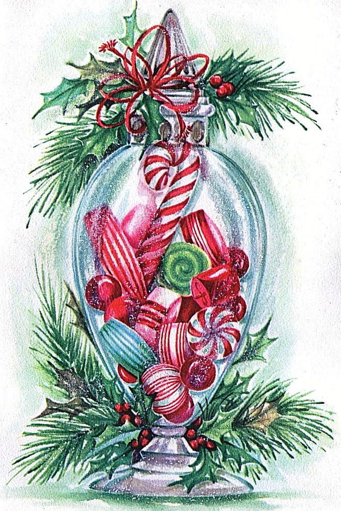 Immagini Natale Hard.Vintage Xmas Card Glittered Candy Canes Hard Peppermints In