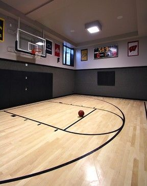 Lower Level Home Basketball Court Basketball Room Indoor Basketball Court