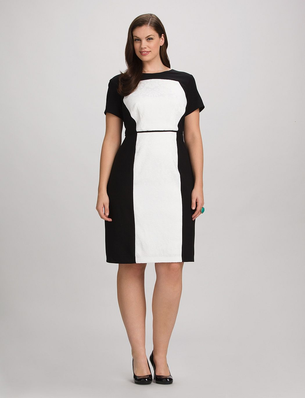 Plus Size | Dresses | Plus Size Colorblock Jacquard Sheath Dress ...