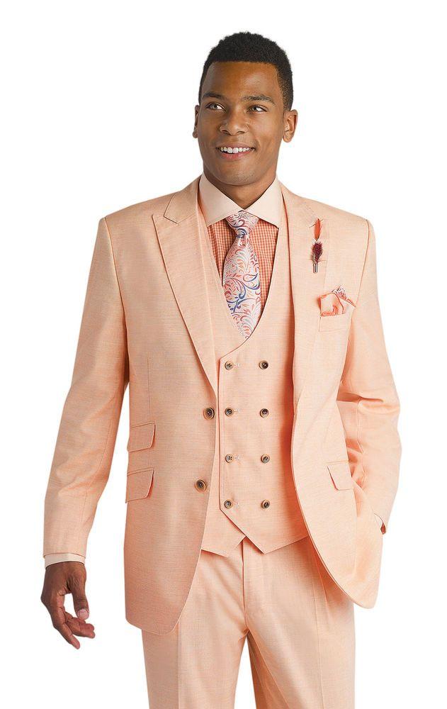 New 3 Piece Peach Pink Mens Fashion Vested Suit M2671 EJ Samuel ...