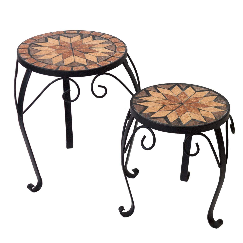 2er Set Mosaik Blumenhocker Beistelltisch Mosaiktisch Blumenstander Hocker Blumen Mosaiktisch Beistelltisch Tisch
