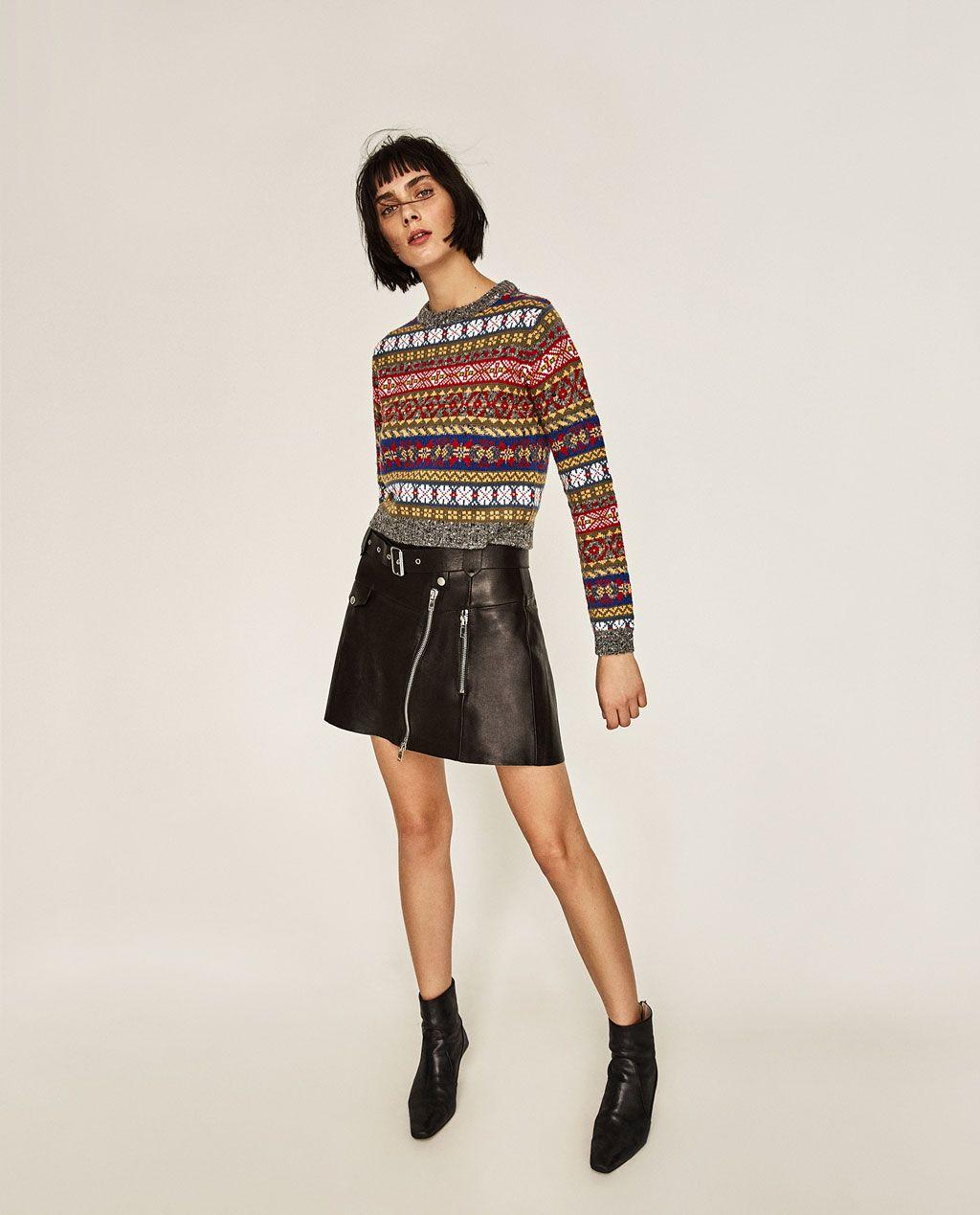 Image 1 of CROPPED JACQUARD SWEATER from Zara | style | Pinterest ...