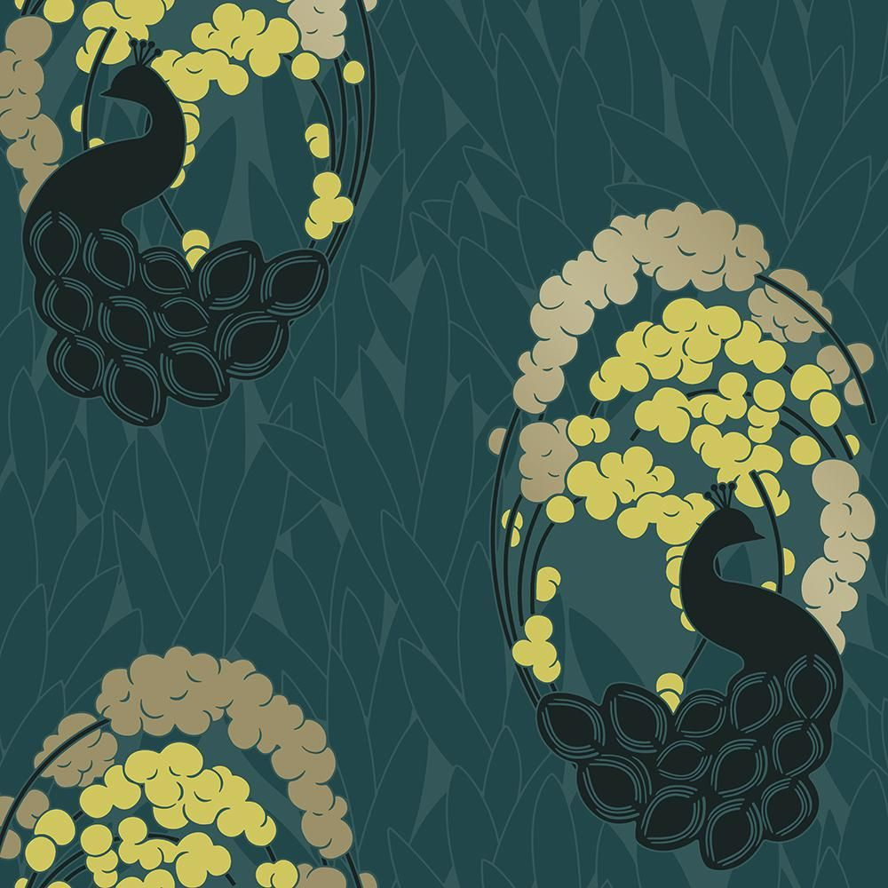 Deco Peacock Pacific Self Adhesive Removable Wallpaper Removable Wallpaper Wallpaper Roll Blue Art